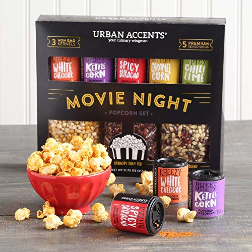 Urban Accents MOVIE NIGHT™ Popcorn Kernels and Popcorn Seasoning Variety Pack (set of 8) - 3 Non-GMO Popcorn Kernel Packs and 5 Gourmet Popcorn Snack Seasoning- Perfect Gift for any Occasion