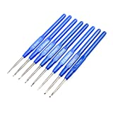 Katech 8 Pieces of Crochet Hooks DIY Yarn Weave Tools Stainless Steel Knitting Needles Kits Crochets Set with Ergonomic Blue Handle Marked Different Sizes (0.6-1.75mm) for Fine Work, Lace Knitting