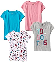 Spotted Zebra Girls' Kids Short-Sleeve T-Shirts, 4-Pack Candy, X-Small