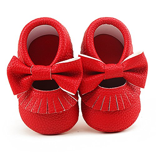 Delebao Infant Toddler Baby Soft Sole Tassel Bowknot Moccasinss Crib Shoes (3-6 Months, Red)