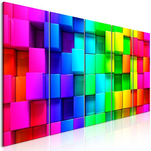 murando Akustikbild 3D Effekt 225x90 cm Bilder Hochleistungsschallabsorber Schallschutz Leinwand Akustikdämmung 5 TLG Wandbild Raumakustik Schalldämmung - Würfel bunt f-A-0350-b-m