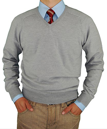 Luciano Natazzi Mens Sweater V-Neck Merino Wool Pullover Cashmere Touch Trim Fit (XXX-Large, Light Gray)