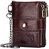 BULLCAPTAIN Men Wallet Genuine Leather RFID Blocking Wallets with Anti Theft Chain Double Zipper Coin Pocket Large Capacity (Brown)