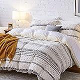 Bedsure 80% Cotton 20% Linen Duvet Cover Set, Washed Cotton Queen Duvet Cover, 3 Pieces Tr...
