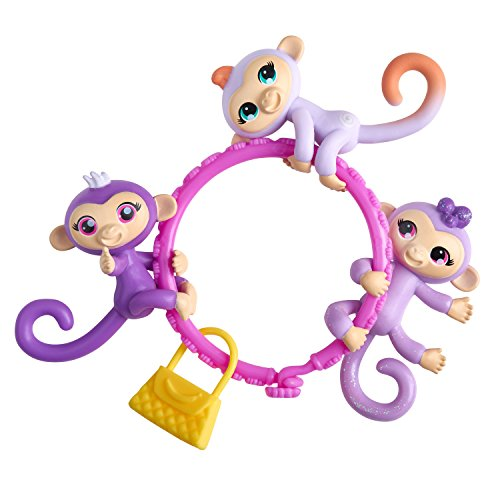 WowWee Fingerlings Minis-Series 1-5 Piece Banana Blister 3 Figures Plus Bonus Bracelet and Charm