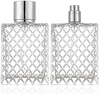 2 Set,100ml Glass Fine Mist Atomiser,Empty Glass Square Grids Perfume Atomizer Spray Pump Bottle Travel Refillable Bottle ...