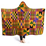 Inaayayi Manta de forro polar con capucha, estilo tribal africano, tradicional, cultural, bonita, suave, para sofá, silla, cama, oficina, viajes, acampadas, niños, adultos, bebé, perro, gato, negro, 80'x60'