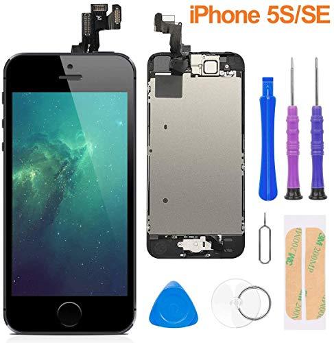 FLYLINKTECH Pantalla para iPhone 5s / se,Táctil LCD de Repuesto Ensamblaje de Marco Digitalizador con botón de Inicio,cámara Frontal,Sensor de proximidad,Altavoz y Herramientas (Negro)