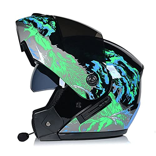 Modular Helmet, Bluetooth Flip-Up Helmet with Double Visor, Anti-Fog, Built-in Intercom, ECE/Dot Approved for Women, Men, Adults, Full Face Helmet S~XL