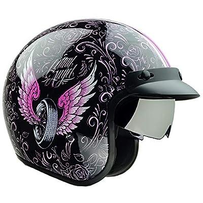 Vega Helmets X390 Retro Open Face Motorcycle Helmet w/Sunshield Unisex-Adult powersports (Lethal Angel, X-Small)