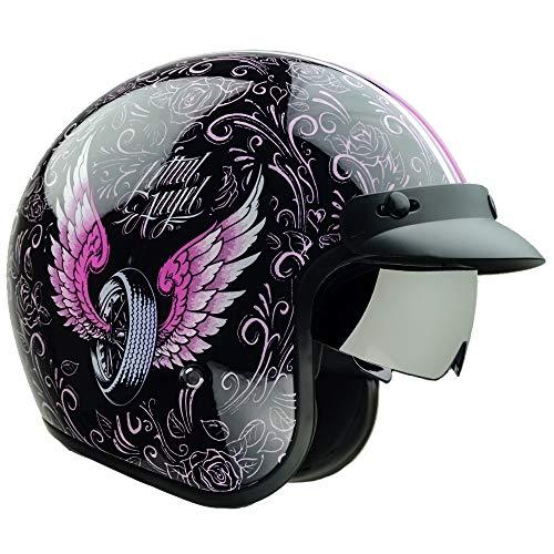 Vega Helmets 87027-054 X390 Retro Open Face Motorcycle Helmet w/Sunshield Unisex-Adult powersports (Lethal Angel, Large)