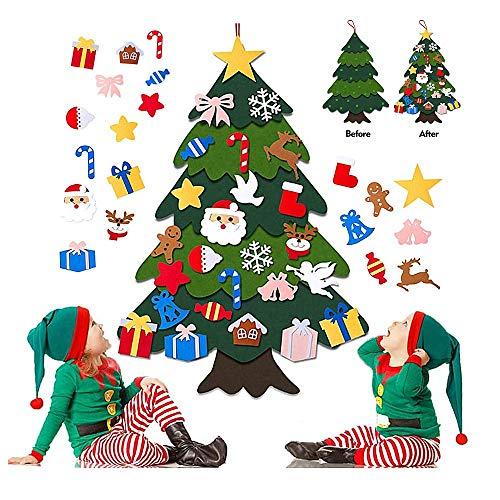 NR El árbol de Navidad del Fieltro de los 3.28FT DIY fijó + los Ornamentos Desmontables 25pcs, Regalos Colgantes de Navidad de la Pared para Las Decoraciones de la Navidad