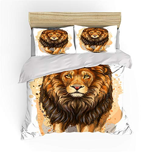 HNHDDZ 3D Lion Tiger Fox Pattern Bedding set for Kids Boy Teen 3D Animal Duvet cover and Pillowcase Soft Smooth Breathable Microfiber (White yellow, King 220x240 cm)