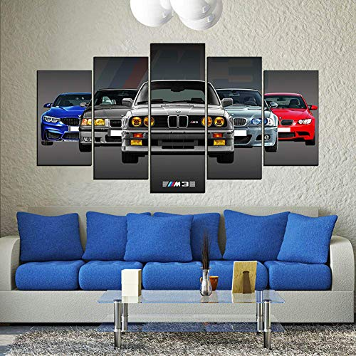 FJNS Prints On Canvas, Wall Art Poster 5 Panel Wall Decor Cool Super Sports Racing Car BMW M3 GTR Car Artwork HD, for Home Decorations Wall Decorations Framed(Optional),A,40x60x240x80x240x100x1
