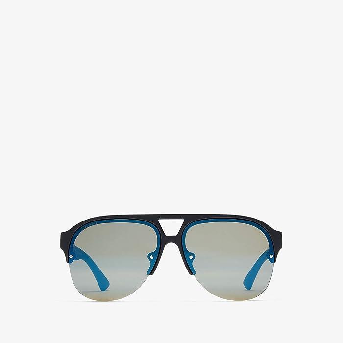 Gucci  GG0170S (Matte Black/Blue) Fashion Sunglasses