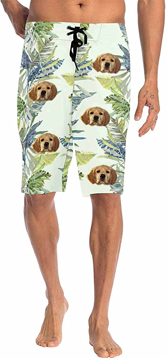 Custom Face Men Swim Trunk Photo on Beach Board Short for Boyfriend Lover Floral Shorts Black