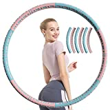 MUSJOS 6 Sections Hoola Hoop for Adults Weight Loss, Detachable Weighted Hoola Hoops, Weighted Hoola Hoop for Exercise, Weight Loss Equipment for Women Brings You Perfect Figure (Pink)