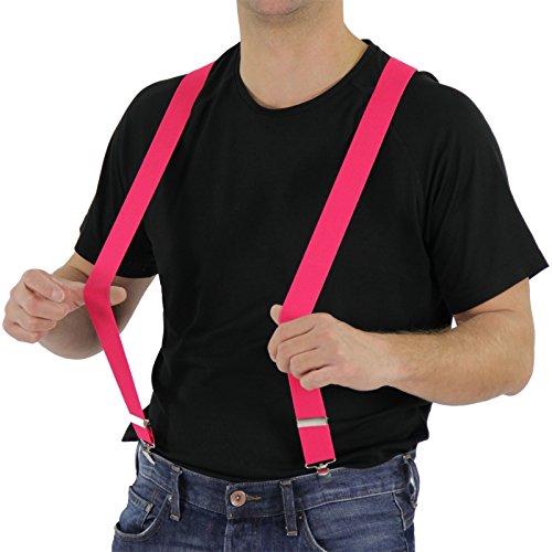 Foxxeo Pinker Hosenträger für Damen und Herren für Karneval und Fasching Party in neon pink