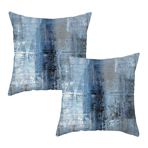 Juego de 2 fundas de almohada para sofá, dormitorio, sofá, coche, sala de estar, color azul