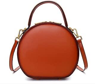 ZXK Retro Messenger/Crossbody Bag for Women Solid Color Soft Genuine Leather Shoulder Bag Zipper Handbag Cowhide Small Round Bag Bean Bag Fashion (Color : Brown)