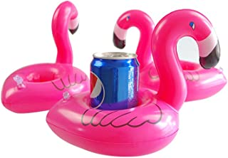 Mirenlife 12 Pieces Thicken Inflatable Flamingo Drink Holders Inflatable Flamingo Coasters Pink Floatation Devices
