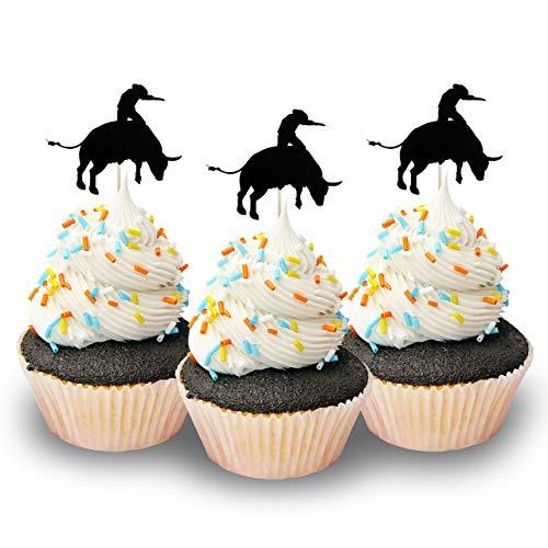 Cupcake-Topper Bullriders Rodeo Cowboys Silhouette Topper, Farbe Schwarz, 12 Stück