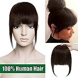 Frange a Clip Naturel - Cheveux Humain Extension a Clip Postiche Femme - #02 Châtain Foncé