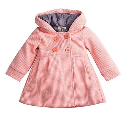 Toddler Infant Baby Girls Fall Winter clothes Trench Coat Wind Hooded Jacket Kids Outerwear (Skin Pink, 1-2T)