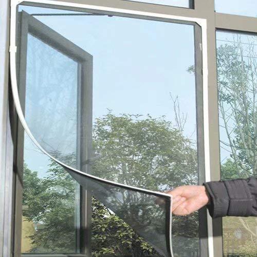 HANBIN Fliegengitter 1 Stück selbstklebendes Fliegengitterfenster Insektennetz Moskitonetz-Set staubdichtes Sandfenster 1,3 * 1,5 m Klettgitterfenster Insektennetzfenster Black