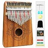 Kalimba Pouce Piano 17 Clés avec instructions d'étude et marteau de marteau, portable Sac de Rangement Mbira Sanza en bois africain pour enfants adultes débutants