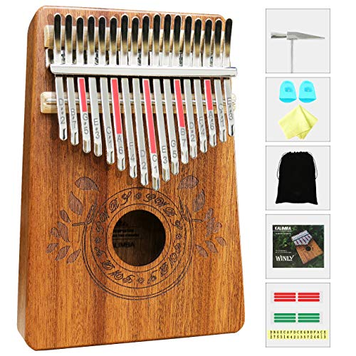 17 Tasten Kalimba Thumb Piano Eingebauter Daumenklavier Schutz Mahagoniholz NEU
