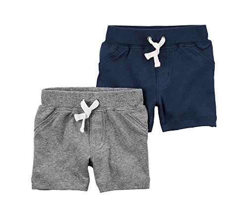Carter's Baby Boys' 2-Pack Shorts 12 Months, Blue/Gray