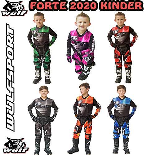 Wulfsport MOTORRADKOMBI Aztec 2019 Kinder Motorrad Anzug Motocross ATV Quad Cross Rennen MX Hose e Hemden Sport Bekleidung (Mehrere Farben) (Orange,5-7 Jahre, 22-Taille)