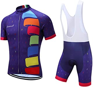 Coconut Ropamo Men's Cycling Jersey Set Road Bike Jersye Short Sleeves Cycling Kits + Bib Shorts with 3D Padded