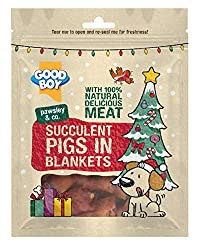 Made with 100% real meat for a delicious tasting chewy treat dogs adore With a novelty Pigs in Blankets design, involving your dog in traditional festive family feasting Combines real pork, chicken and duck breast meat Gently air dried to lock in all...
