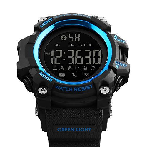 Msxx Bluetooth Smart Watch, Neues Upgrade Outdoor Tactical Adventure Wandersport Multi-Function Step Reminder Watch, Wild Survival Watch,Blue