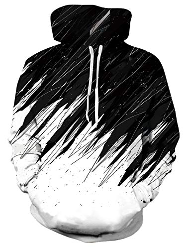 uideazone - Sudadera de forro polar con impresión 3D, sudadera con capucha para hombre y mujer con grandes bolsillos azul S