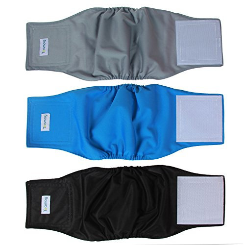 Teamoy Reusable Wrap Diapers for Male Dogs, Washable Puppy Belly Band Pack of 3 (M, 13'-16' Waist, Black+ Gray+ Lake Blue)