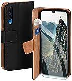 moex Handyhülle für Samsung Galaxy A90 5G - Hülle mit Kartenfach, Geldfach & Ständer, Klapphülle, PU Leder Book Hülle & Schutzfolie - Schwarz