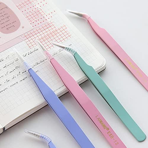 Pinzas Bonitas de Acero Inoxidable de Color Macaron, Herramienta de Cinta Adhesiva, Accesorio, Cuaderno, Pinzas portátiles prácticas