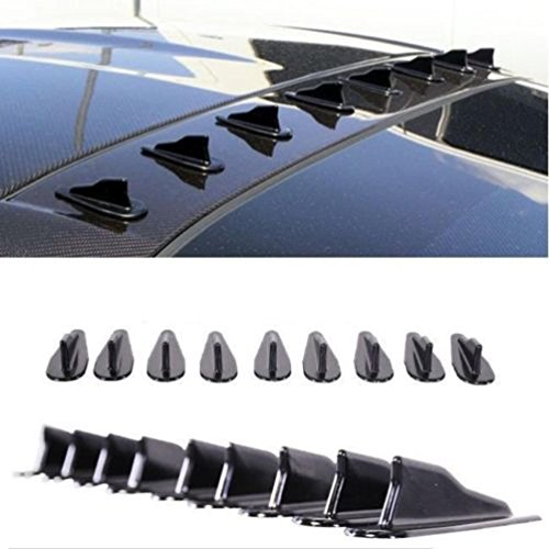 CoscosX 10 Pcs Mini Shark Fin Diffuser Vortex Generator Universal Car Truck SUV Roof Decoration Spoiler Wing Carbon Fiber Car Accessories 2.95inch,Black