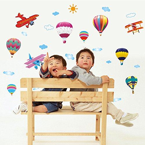 Mznm Muurstickers, drie generaties zelfklevende muurstickers, kleurrijke luchtballonnen, kinderkamer voor babybedden