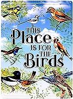 この場所は鳥のためのものです ヴィンテージスタイル メタルサイン アイアン ペインティング 屋内 & 屋外 ホーム バー コーヒー キッチン 壁の装飾 8 × 12 インチ