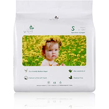 ECO BOOM Baby Bamboo Biodegradable Disposable Diapers Infant Eco Friendly Nappies Natural Soft Hypoallergenic Diapers for Baby 90 Count-Pack Size 2 Diapers (6-16lb)