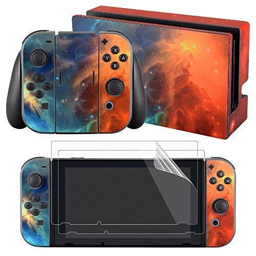 eXtremeRate kit d'Autocollants pour Nintendo Switch Manette avec 2Pcs Protecteur d'Écran Film Protection(Console & Joycons & Dock & Grip)-Nébuleuse Orange Bleu