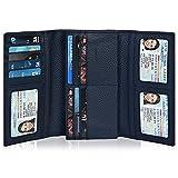 Women's Wallet Clutch - Navy Blue Genuine Leather RFID Blocking Checkbook Wallet