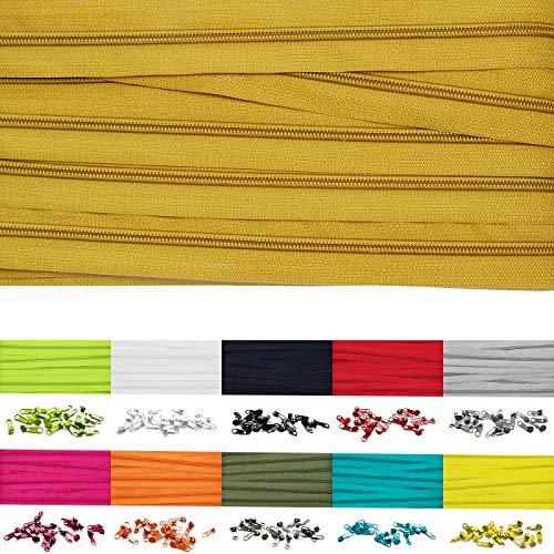 Roban Fashion 5m Endlos Reißverschluss Spirale 5mm mit 10 Zipper Meterware in 24 Farben,5m+10Zipper,Gold