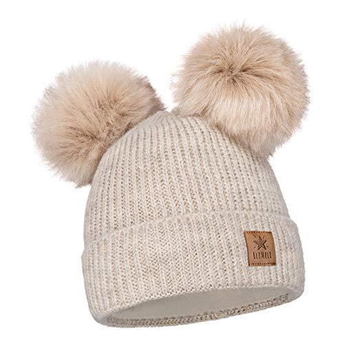 EliMeli Kinder Mütze für Mädchen warme gestrickte Wintermütze mit Zwei Bommeln Perfekt Beanie für Winter und Herbst 17223 (Beige)