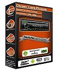 Kenwood Kit de radio estéreo para Citroen Xsara Picasso, reproductor de CD y MP3y USB Sux en la parte delantera