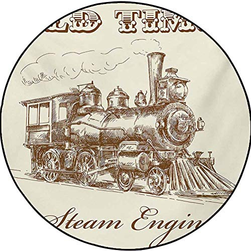 Steam Engine Polyester Machine Washable Round Area Rug Christmas Thanksgiving Decor Rug Old Times Train Vintage Hand Drawn Iron Industrial Era Locomotive Ivory Pale Caramel 5.6 ft in Diameter